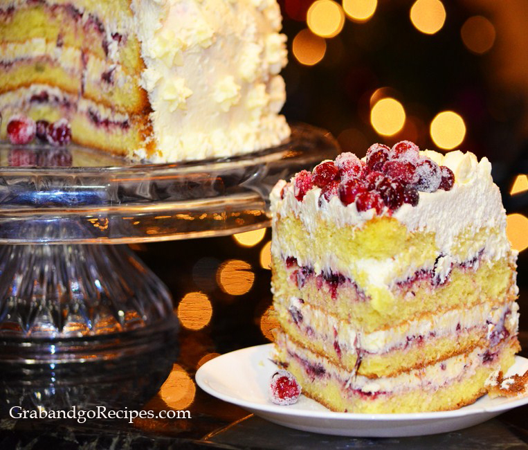 Cranberry Vanilla Cream Cake Recipe
