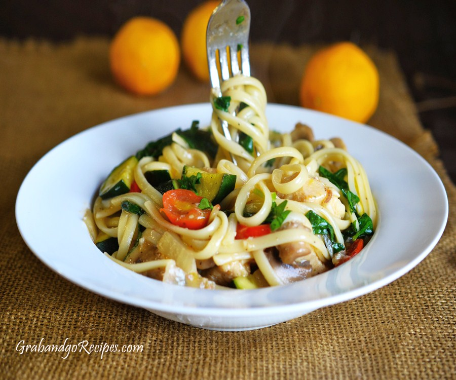 Linguine with Chicken and Sauted Vegetables