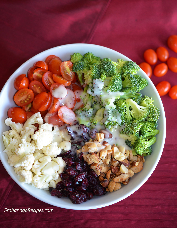 broccoli cauliflower cherry tomato salad