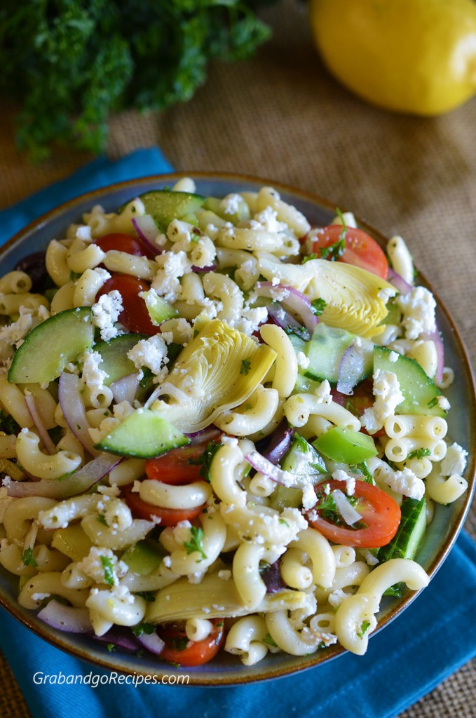 Mediterranean Pasta Salad with Red Wine Vinaigrette